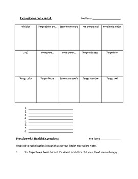 Health Expressions in Spanish - notes, activities, flashca