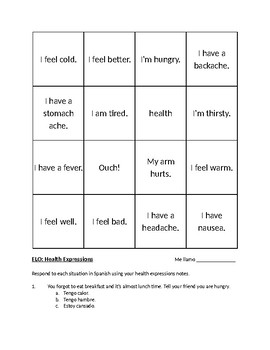 Health Expressions in Spanish - notes, activities, flashcards and assessment