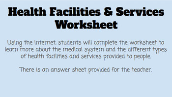 Health Facilities and Services Worksheet