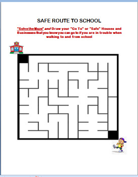 """School Safety-""""Getting To and From School Safely""""- Fun Maze Activity"""