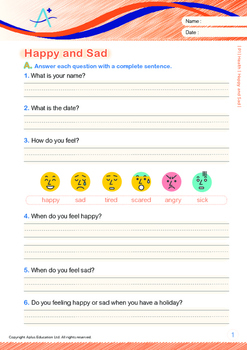 Health - Happy and Sad - Grade 1 (with 'Triple-Track Writing Lines')
