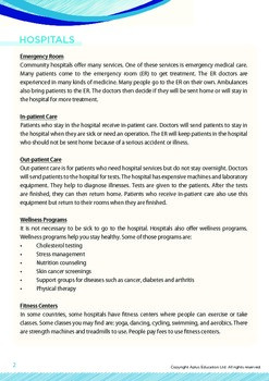 Health - Hospitals - Grade 9