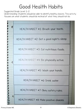 Health Interactive Notebook Foldables (K-2)
