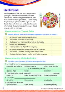 Health - Junk Food - Grade 1