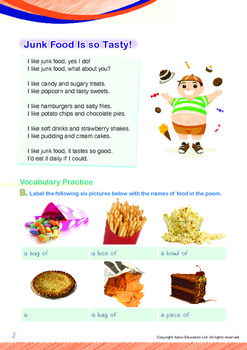 Health - Junk Food Is So Tasty - Grade 1 (with 'Triple-Track Writing Lines')