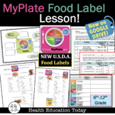 MyPlate Food Label Teen Health Lesson - NOW ON GOOGLE SLIDES!