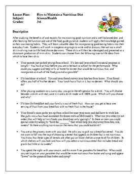Health Lesson Plans - Food and Nutrition, How to Maintain a Nutritious Diet