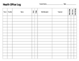 Health Office Log for School Nurse