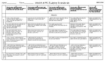 Health & PE Judging Standards - Year 1