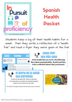 Health Activities (la salud)-Reading, Writing and Speaking