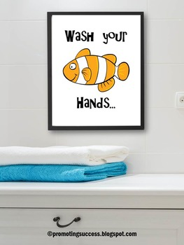 Wash Your Hands Poster, Fish Theme Bathroom Sign