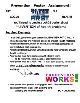 Health Problem Prevention Poster Creation Assignment