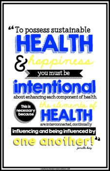 Health Quote Poster // Classroom Poster // Classroom Decor // Health