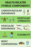 Health Related Components of Fitness Poster for PE Class (9 color variations)