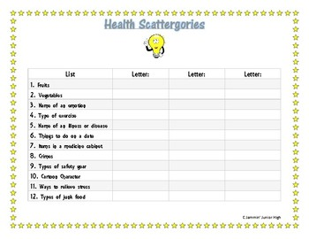 Health Scattergories