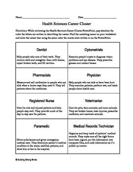Health Science Career Cluster Activity