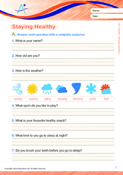 Health - Staying Healthy (I) - Grade 1 (with 'Triple-Track Writing Lines')