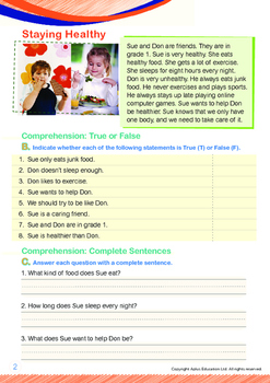 Health - Staying Healthy (II) - Grade 1 (with 'Triple-Track Writing Lines')