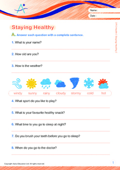 Health - Staying Healthy - Grade 1