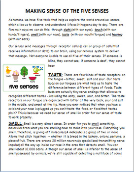 """The Five Senses"" -Lesson and 3 activities"