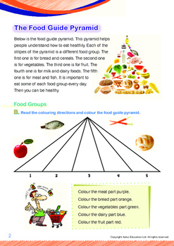 Health - The Food Guide Pyramid - Grade 1 (with 'Triple-Track Writing Lines')