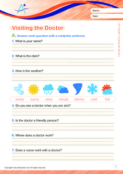 Health - Visiting the Doctor - Grade 1 (with 'Triple-Track Writing Lines')