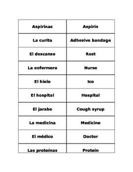 Health Vocabulary Matching/Flashcards
