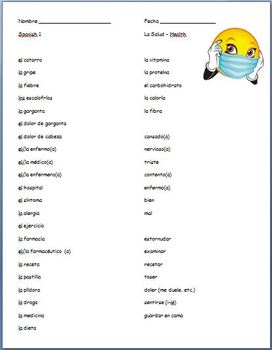 Spanish - Health Vocabulary Sheet