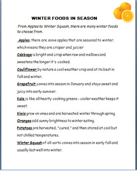 """Nutrition-""""Wonderful World of Winter Foods""""  Writing Prompt/activity/coloring"""