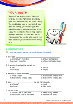 Health - Your Teeth - Grade 1 (with 'Triple-Track Writing Lines')