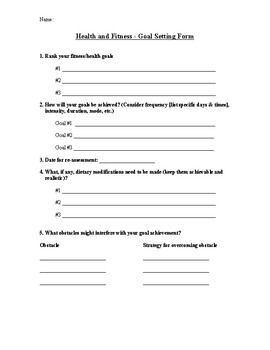 Health and Fitness Goal Setting Form