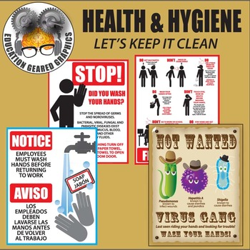 Health and Hygiene Volume 1 Signs clip art for classroom and commercial use.