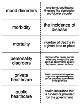 Health and Medicine Vocabulary Flash Cards for Sociology
