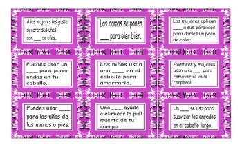 Health and Personal Hygiene Spanish Card Game