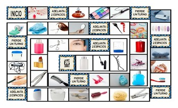 Health and Personal Hygiene Spanish Legal Size Photo Board Game