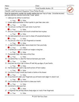 Health and Personal Hygiene True False Exam
