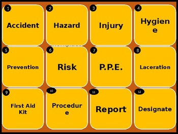 Health and Safety Workplace fun interactive vocabulary game / quiz