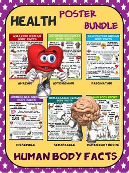 Health and Science Poster Bundle: Human Body Facts- 6 Contemporary Posters