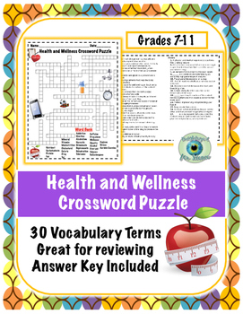 Health and Wellness Crossword Puzzle