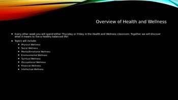 Health and Wellness, Day 1, PowerPoint