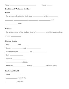 Health and Wellness Notes Outline Lesson Plan
