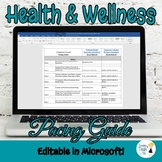 Health and Wellness Pacing Guide - Editable in Microsoft Word and Excel