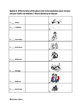 Health and Wellness Vocabulary Activities
