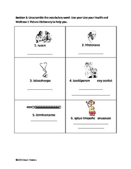 Health and Wellness Vocabulary Activities