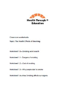 Health effects of smoking worksheets