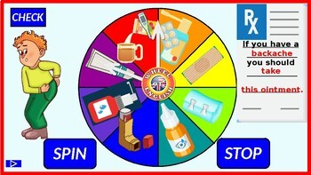 Health problems and treatment. Spinning wheel game with audio vocabulary.