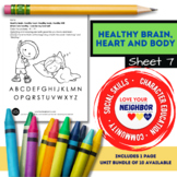 Healthy Brain, Heart and Body - Sheet 7, Color & Circle First Letter of the Word