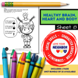 Healthy Brain, Heart and Body - Sheet 8, Color Is it Good for Heart, Brain, Body