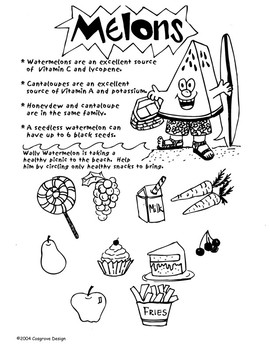 Healthy Choices Activity Sheet: Melon
