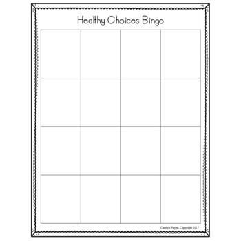 Healthy Choices Bingo